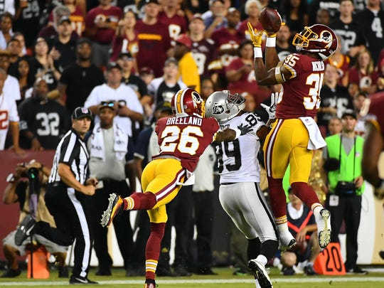 Redskins safety Montae Nicholson (35) intercepts a