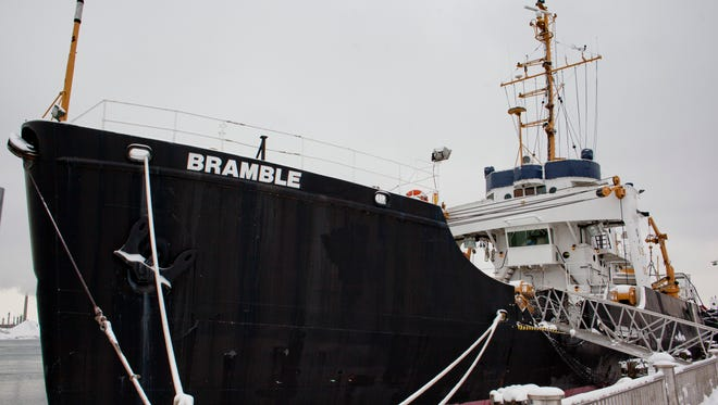The former U.S. Coast Guard cutter Bramble is docked at the Seaway Terminal in Port Huron.