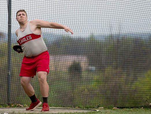 Bermudian Springs' Aaron Becker spins through the circle