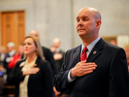 Representative of the 3rd District Jason Mumpower signs the pledge of alliance before the Electoral College cast their vote for Donald Trump on Monday, Dec. 19, 2016, in Nashville, Tenn.