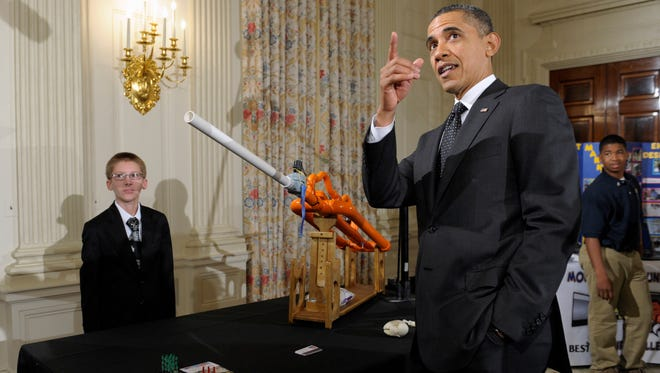 President Obama and the marshmallow cannon of 2012.