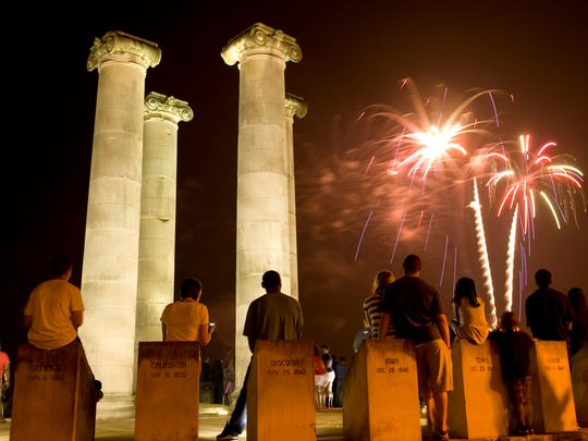 The Four Freedoms Monument offers the foreground for the Fourth of July fireworks display a previous year at Dress Plaza on the Ohio River.