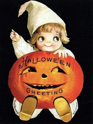 Sending and collecting Halloween-themed postcards was a favorite for children and adults in the early 20th century. This circa 1908 postcard features a staple of Halloween for nearly 200 years – the carved pumpkin.