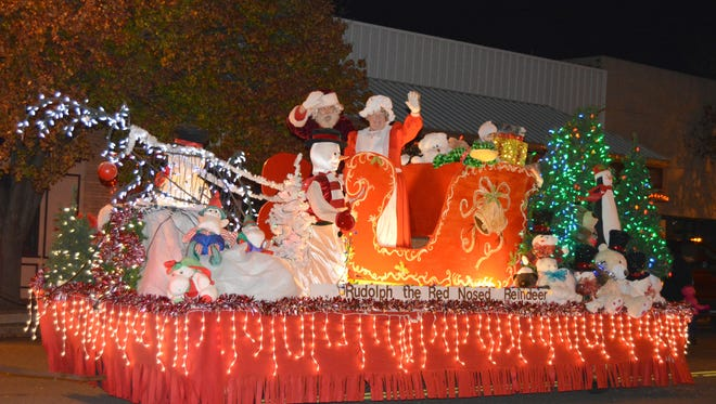 A float featuring Mr. and Mrs. Santa Claus provided a beautiful end the last year's lighted Christmas Parade in Vernon. A full day of events was enjoyed by both residents and visitors.
