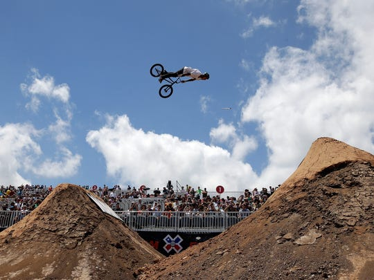 Kyle Baldock of Australia competes in the BMX Dirt Finals during the X Games Austin at Circuit of The Americas on June 7, 2014, in Austin, Texas. Baldock went on to win the event.