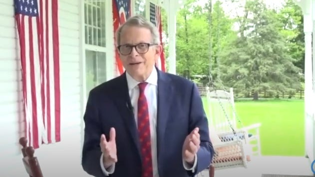 Gov. Mike DeWine discusses his positive COVID-19 test from the front porch of his historic farm home near Cedarville, in Greene County west of Columbus, during an online talk with reporters.
