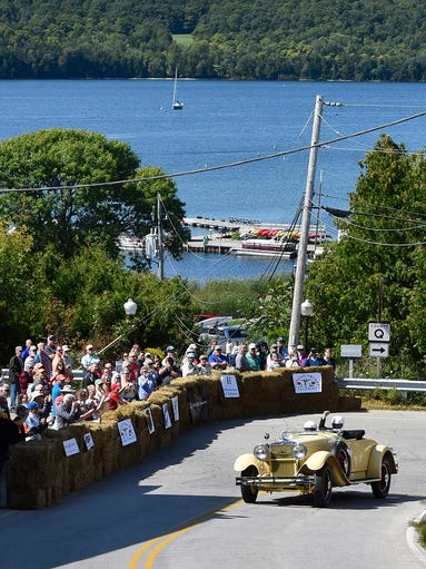 With Eagle Harbor as a backdrop, a 1930 Stutz Model