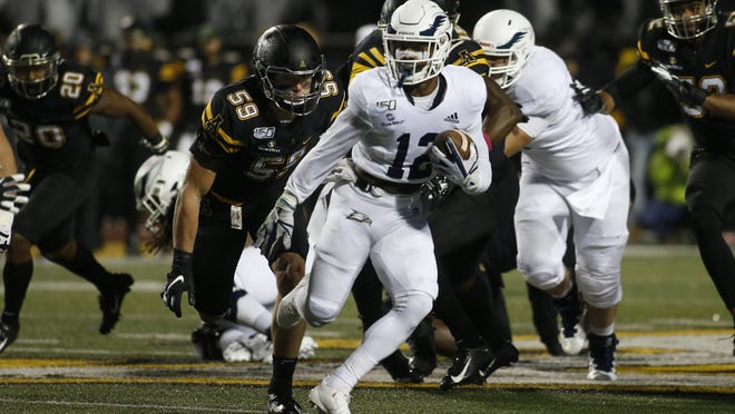 Georgia Southern running back Wesley Kennedy III (12) of Savannah runs the ball against Appalachian State on Oct. 31, 2019, in Boone, N.C. Eagles coach Chad Lunsford said he expects Kennedy to be ready to play Saturday at Louisiana after missing the season opener Sept. 12 against Campbell.