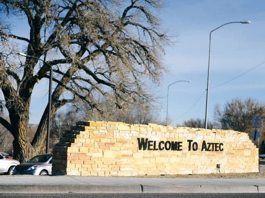 A welcome sign is pictured off Main Avenue in Aztec in January 2014.