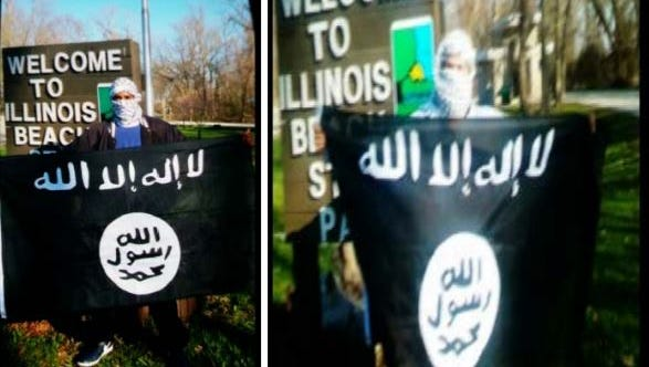 "Joseph D. ""Yusuf Abdulahad"" Jones, and Edward ""Abdul Wali"" Schimenti, 35, both of Zion, Ill., are allegedly pictured in front of an Illinois sign with an ISIS flag. Jones sent the photos to an undercover FBI employee, encouraging him to post it on his Google+."