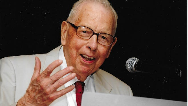 Orville Bloethe speaks before a crowd at an event. Bloethe, who died  Dec. 2 at age 97, was remembered as a philanthropist, community leader and so much more to the Victor and HLV School District community.