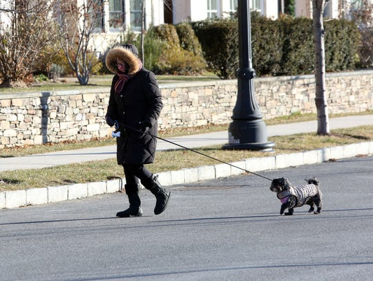Judy Vatne and her dog Shirley are all bundled for