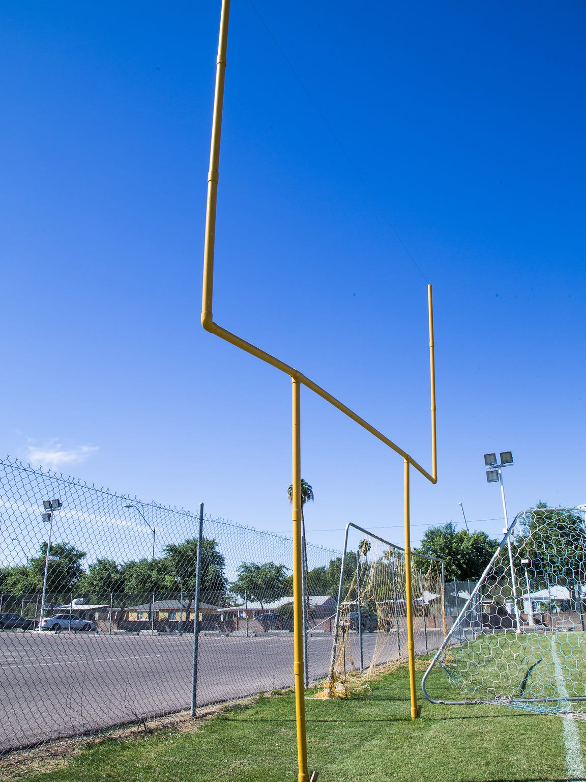 The Phoenix College football practice field has a goal