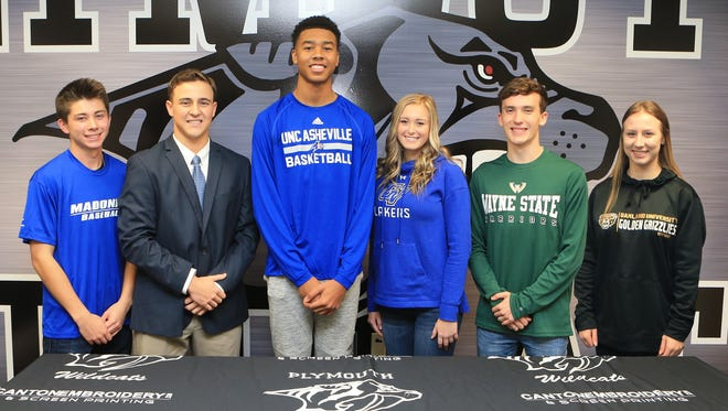 Six Plymouth student-athletes recently signed national letters of intent with colleges. From left are Logan Dziadzio, Evan Good, Anthony Crump, Erin Johnson, Ethan Byrnes and Paige Saunders.