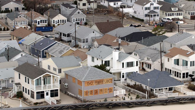 A view of Point Pleasant Beach from one of the helicopters traveling with Vice President Joe Biden's tour of superstorm Sandy damage along the Jersey Shore after the storm.