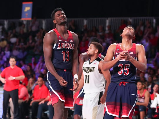 Arizona Wildcats forward Deandre Ayton (13) and guard Allonzo Trier (35) react during Friday's loss to Purdue.