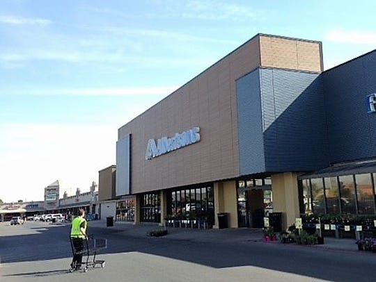 A newly remodeled Albertsons supermarket anchors the