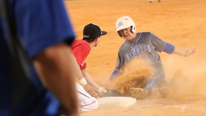 McNairy Central's Casey Coleson slides into third base as South Side's Bryton Wallace tags him on Monday at McNairy Central.