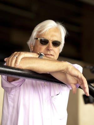 Trainer Bob Baffert watched from the Del Mar grandstand as American Pharoah and jockey Martin Garcia covered a half-mile in 48 4/5 seconds in preparatiion for a planned start in the $1,000,000 Haskell Invitational to be contested on August 2 at Monmouth Park in Oceanport NJ.