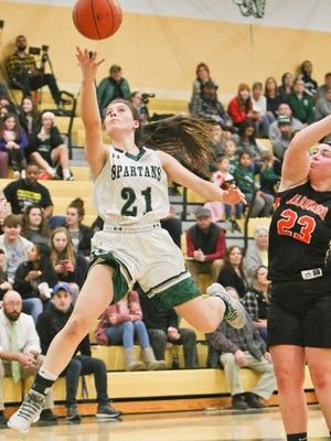 Oakmont Regional two-sport athlete Jessica Lee (21) led her team and the Mid-Wach C League in scoring and was named the Spartans' Most Valuable Player for the 2019-20 season.