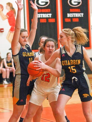 Quabbin forward Georgia Shampine, shown at right trying to steal the ball away from Gardner's Maddie Schaeffer, plans studying business at Endicott College in the fall.