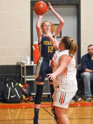A three-sport athlete at Quabbin Regional, Helena Shampine (12) has elected to attend Endicott College with her twin sister, Georgia, and study Art Theapy in addition to playing on the Gulls' women's basketball team.