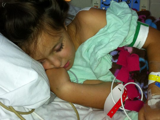 Norah on the day after her 2012 surgery for a brain tumor.