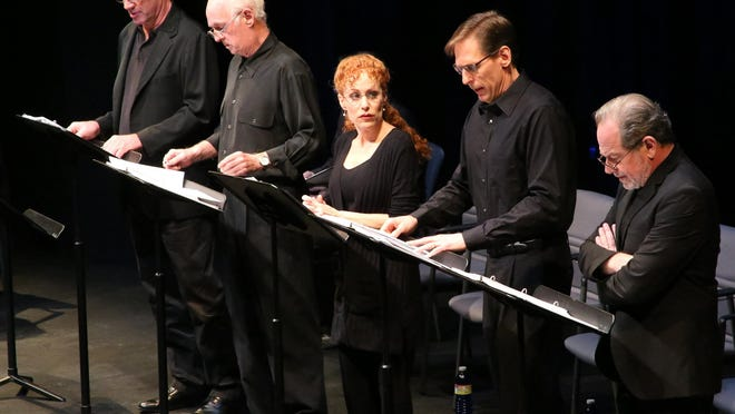 """From left: Tom Wahl, Dennis Creaghan, Margery Lowe, Bruce Linser and Michael McKeever performed a reading of McKeever's """"The People Downstairs"""" during Palm Beach Dramaworks' New Year/New Plays Festival in January."""