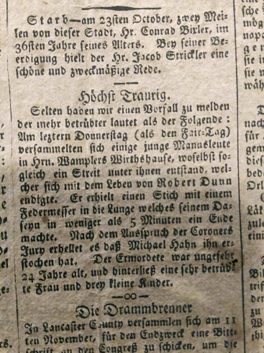 German-language newspaper of the time discusses a killing at the York Fair in 1815.