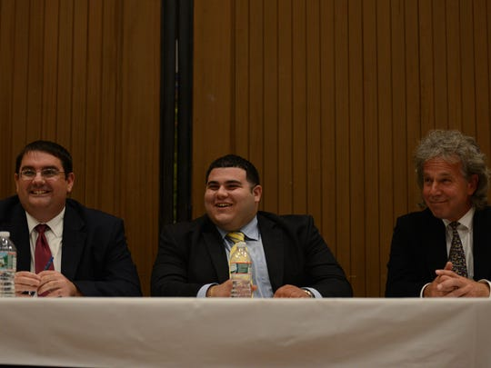 Jason Nunnermacker, Jason Some and Richard Cerbo at a  public debate in 2015 to fill an unexpired term on the City Council. Some and Cerbo are both running for City Council once again this year.