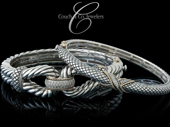 A stunning Andréa Candela bracelet in sterling silver and 18 karat gold from Couch & Co. Jewelers, 2513A Beene Blvd.