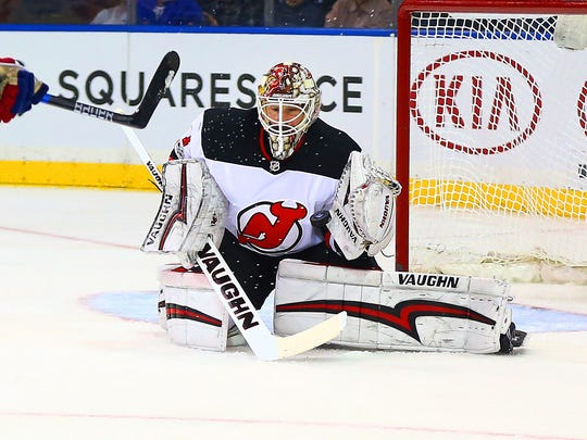 Devils goaltender Keith Kinkaid (1) makes a save against the New York Rangers during the second period at Madison Square Garden on Saturday, Dec. 9, 2017. The Rangers won, 5-2.