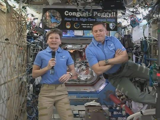This NASA TV frame grab shows NASA astronaut Peggy