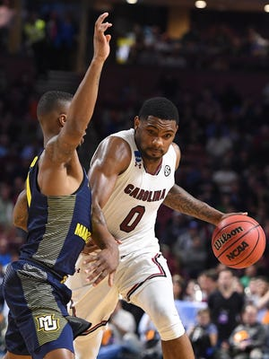 South Carolina guard Sindarius Thornwell (0) plays against Marquette during the first round of the NCAA Tournament at Bon Secours Wellness Arena in Greenville on Friday, March 17, 2017.