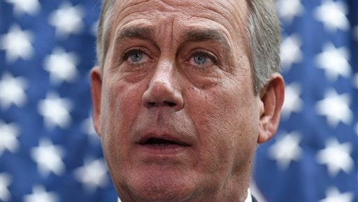 House Speaker John Boehner of Ohio speaks to reporters following a meeting on Capitol Hill in Washington, Wednesday, Feb. 25, 2015.