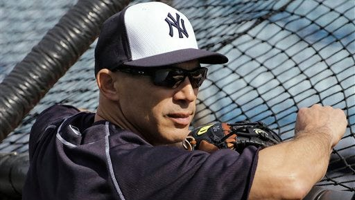 New York Yankees manager Joe Girardi  before a spring training baseball game against the Boston Red Sox Saturday, March 5, 2016, in Tampa, Fla. (AP Photo/Chris O'Meara)