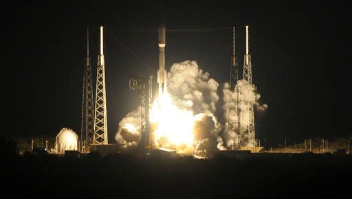 An Atlas V rocket lifts off from Complex 41 at Cape Canaveral Air Force Station, in Fla., Saturday evening, Nov. 19, 2016. The rocket is carrying the GOES-R weather satellite. The most advanced weather satellite ever built rocketed into space Saturday night, part of an $11 billion effort to revolutionize forecasting and save lives.