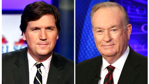 """FILE - In this combination photo, Tucker Carlson, host of """"Tucker Carlson Tonight,"""" appears on the set in New York, Thursday, March 2, 2107, left, and Fox News personality Bill O'Reilly appears on the set of his show, """"The O'Reilly Factor"""" on Oct. 1, 2015 in New York. O'Reilly says he's sad and surprised that he's off TV but is confident the truth will come out about his exit from Fox News. Five days after his firing amid sexual harassment allegations, O'Reilly aired an episode Monday of his personal website's """"No Spin News"""" podcast. The show was replaced by """"Tucker Carlson's Tonight,"""" which moved to O'Reilly's time slot Monday."""