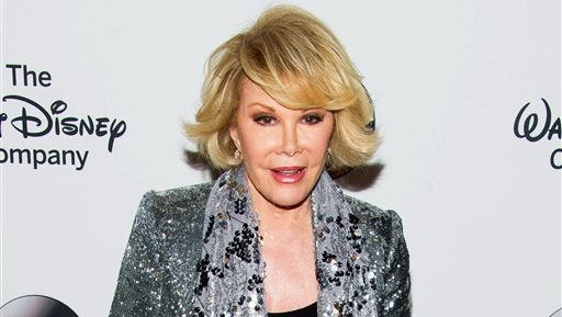 """TV personality Joan Rivers attends A Celebration of Barbara Walters in New York. Jerry Seinfeld says that Joan Rivers was to join him for an episode of his digital series """"Comedians in Cars Getting Coffee,"""" until he got a call saying she had to postpone because she was undergoing a medical procedure. Rivers went into cardiac arrest following a throat procedure on Aug. 28 and died on Sept. 4."""
