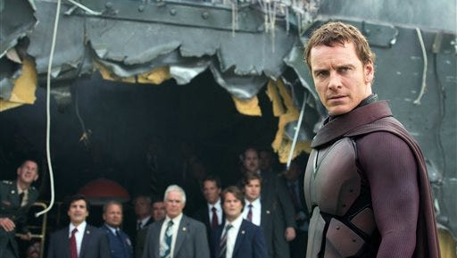 "This image submitted by 20th Century Fox shows Michael Fassbender in ""X-Men: Days of Future Past."""