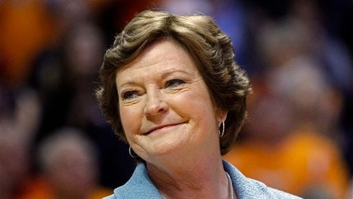 In this Jan. 28, 2013, file photo, Tennessee head coach emeritus Pat Summitt smiles as a banner is raised in her honor before an NCAA college basketball game against Notre Dame in Knoxville.