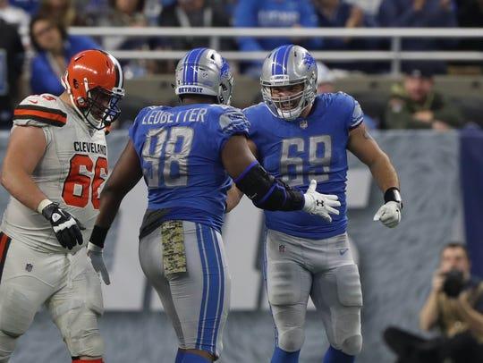 Detroit Lions' Jeremiah Ledbetter and Anthony Zettel