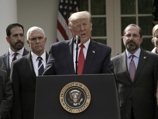 U.S. President Donald Trump declares National Emergency as he speaks on COVID-19 coronavirus at a news conference with members of the Coronavirus Task Force in the Rose Garden of the White House on March 13, 2020 in Washington, D.C. (Ken Cedeno/Abaca Press/TNS)