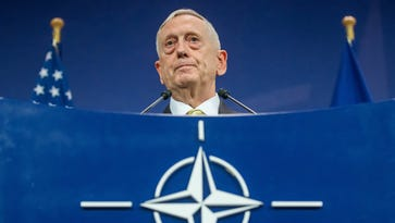 Defense Secretary Jim Mattis speaks at a news conference during the NATO Defense Ministers Council meeting in Brussels on Feb. 16, 2017.