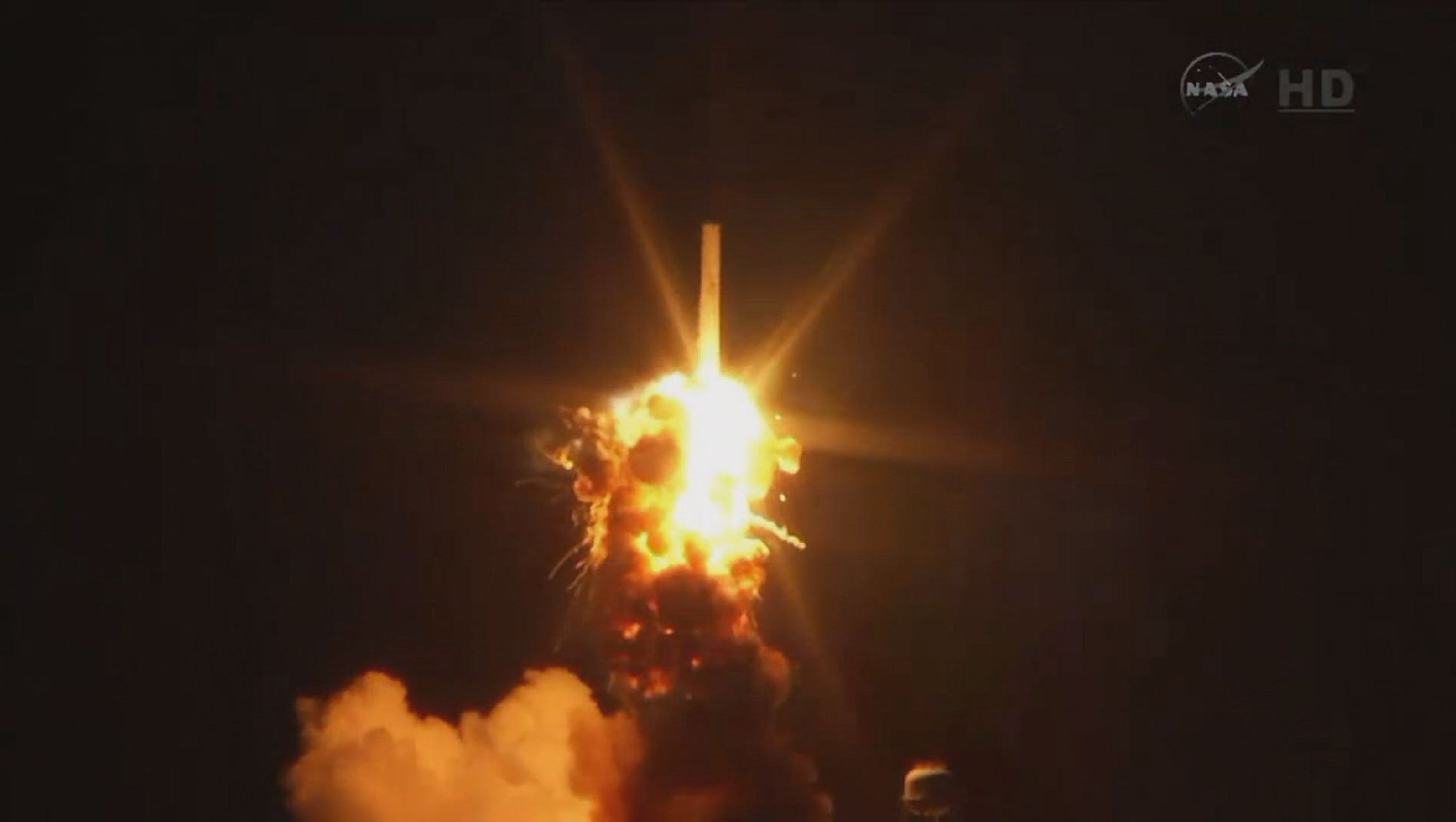 NASA Antares rocket explodes during launch in Va.