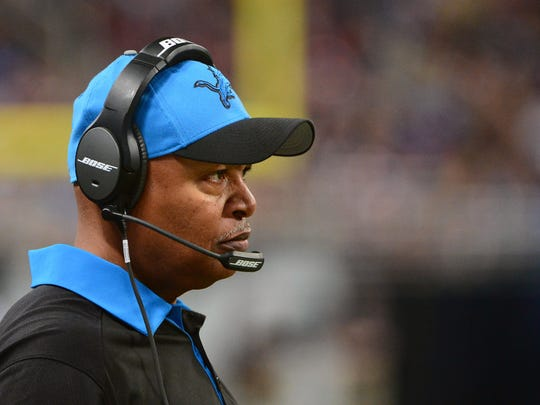 Dec 13, 2015; St. Louis, MO, USA; Detroit Lions head coach Jim Caldwell looks on as his team plays the St. Louis Rams during the second half at the Edward Jones Dome. Mandatory Credit: Jeff Curry-USA TODAY Sports
