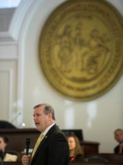 State Sen. Phil Berger speaks on the senate floor during a special session of the North Carolina General Assembly called to consider repeal of NC HB2 in Raleigh, N.C., Wednesday, Dec. 21, 2016. North Carolina's legislature reconvened to see if enough lawmakers are willing to repeal a 9-month-old law that limited LGBT rights, including which bathrooms transgender people can use in public schools and government buildings.
