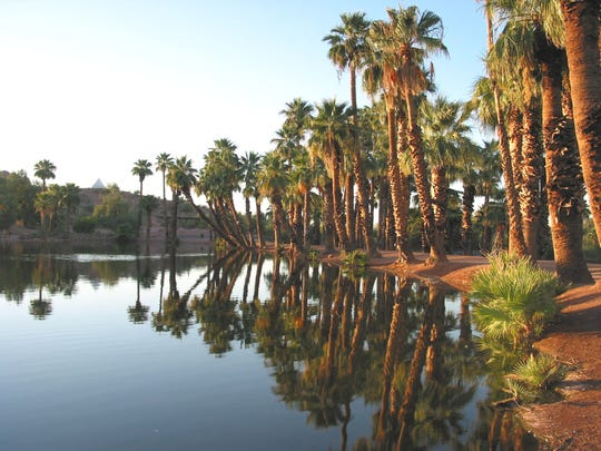 One of the ponds in Papago Park. Kids participating in the XTerra Rock Hopper Triathlon + Open Water Swim will take a 13-mile bike ride around Papago Park followed by a 3.5-mile trail run through Papago Park in October.