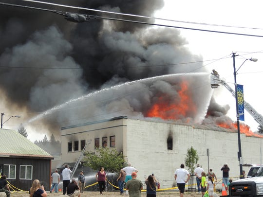 A fire in Portola, Calif. rages through downtown Friday.