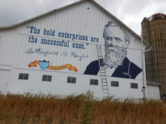 Mural of Rutherford B. Hayes on Fangboner Road barn helps celebrate 60 years of the Ohio Turnpike.